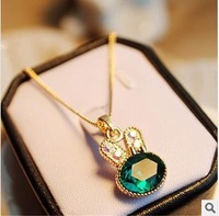 HOT!!! popular fashion models crystal bunny necklace jewelry sweater chain necklace female short paragraph