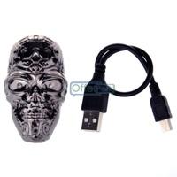 Free Shipping Stainless Steel Ghost USB Charging Lighter Cigar Cigarette Lighter Not Including Butane