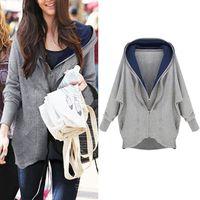 2014 Korea Fashion Design Women Batwing Sleeve Coat Sports Hooded+Zipper Plus Size Jacket Winter ZE3141