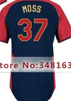 #37 Brandon Moss Jersey Black,Mix Order,Men's Authentic  Jersey,2014 All-Star Baseball Jersey,Size M-XXXL,Free Shipping
