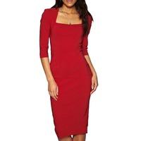 New Elegant 2014 Women Red Long Vestido Crochet Celebrtity Dresses U-neck Solid Plus Size Winter Bandage Dress Drop Ship CD1340