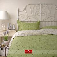 2014 home textile 100% cotton bedding green Floral printed bedsheet bedding set checks 4 pcs comforter cover king queen