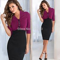 NEW CHIC Women's Sexy V- neck Career Patchwork Attractive contrast Stripe Slim zipper  pencil dress
