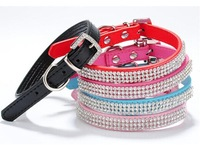 5Pcs/lot New Arrival Popular 5 Colors U Choose Dazzling Crystal PU Leather Dog Chains For Pets FS01010