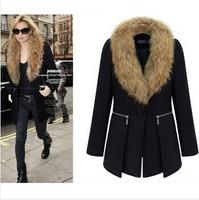 High Quality New Fashion Women's Wool Coat Fur Collars Outerwear - Winter overcoat Women Blends Parkas Plus Size 5XL