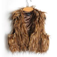 High Quality Plus Size Hot Sale 2014 New Fashion Brand Winter Warm Women Fur Waistcoat Outwear Women Jacket Coat Faux Fur Vest