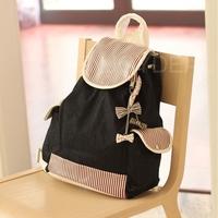 New Girls Rucksack Stripe Pattern Backpack School Bag with Bowknot  Pendant