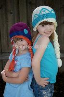 2015 Newest Handmade  Sister's Hat, crochet handmade ELSA ANNA cute crochet hats for children,Elsa hat,Anna hat