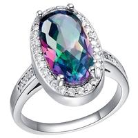 Rewelry 925 Silver Ring For Women Wedding CZ Gemstone Rainbow Jewelry Mystic Topaz Rings Free Shipping Ulove J481