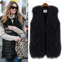 Faux Fur Coat High Quality Plus Size S-XXXL 2014 New Fashion Brand Winter Warm Women Fur Waistcoat Outwear Women Jacket Coat