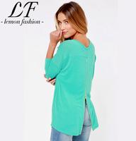 New Casual Women Long-sleeve Hoodies with Gold Zipper Slitting Back Green Sweatshirts