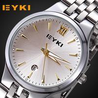 Free shipping 2014 famous brand eyki watches women men relogio original watch bracelet luxury stainless steel lover's clock male