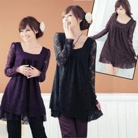 2014 New Arrival Autumn Lady Luxury Plus Size Lace Loose Long Sleeve Mini Dress High Quality L XL XXL XXXL Free Shipping
