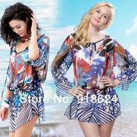 Free Shipping 2014 Fashion Summer Holiday Sexy  O-neck Maple Leaf Printed Loose Bikini Cover Ups Chiffon Beach Dress