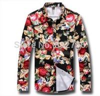 Big Size 5XL 4XL 3XL New 2014 Autumn Men Fashion flower Fashionable Long shirts Plus size XXL XL M Free shipping