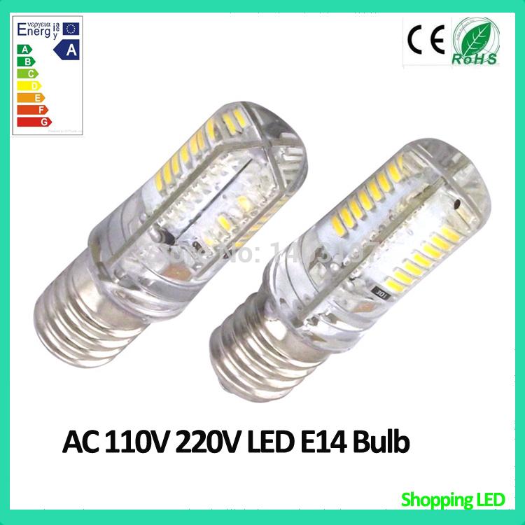 6PCS Led Light E14 220V 110V Super Bright 64pcs SMD3014 Led 40W Halogen Replacement 5W Led E14 Bulb(China (Mainland))