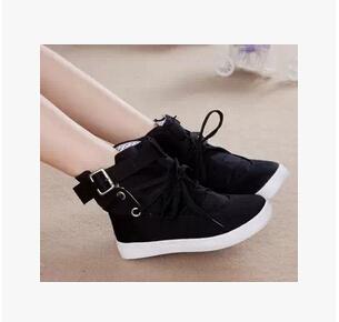 Han edição do novo fundo de 2014 outono menina documentários sapatos baixos lona pano cor pura sapatos molhados(China (Mainland))