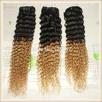 Factory Price Ombre Brazilian Virgin Two Tone Brazilian Virgin Deep Wave 3pcs/lot Color #1b/27 8-30inch Ombre Human Hair