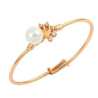New Cute Lovely 18K Gold Plated  Faux Pearl Five Prong CZ Bracelets Bangles Fashion Jewelry For Baby Toddler