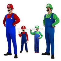 Hot Kids Super Mario Bros Cosplay Costume Set Kids Halloween Party MARIO & LUIGI Costume For Kids D-1527 Free ship