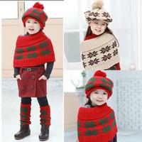 Free shipping 1 set  Beanies kids Hat, Scarf, Hat & socks Sets, Cute lovey children's handmade  Cap Scarf