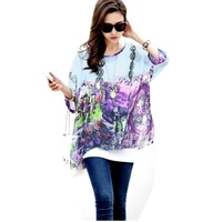 Womens Bohemian Floral Batwing Sleeve Plus Chiffon Oversize Loose Off Shoulder Blouse Tops 6004