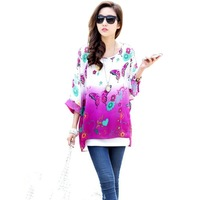 Womens Bohemian Floral Batwing Sleeve Plus Chiffon Oversize Loose Off Shoulder Blouse Tops 6007