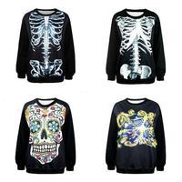 New Arrived Funny Clothes 2015 Autumn Fashion Women/Men 3D Hoodies Hip Hop Skull Flower Bomb Print jacket Coat Sweatshirt