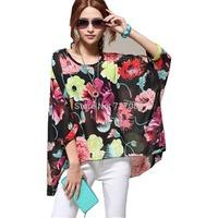 Bohemian Hippie Big Size Batwing Sleeve Chiffon Blouse Loose Off Shoulder Shirt Black Flower