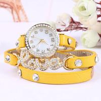 1000pcs/lot  Fantastic women dress watch Girl Love Cz Dial Wrap Around Synthetic Leather Bracelet quartz Wrist Watch For Women