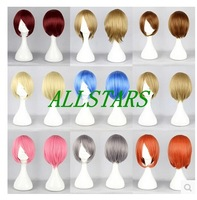 Free Shipping Brand New women 9 colors short wig straight heat resistant anime cosplay wig party wigs F-0173