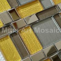 [Mius Art Mosaic]  Yellow gold Glass tile  stainless steel  mosaic metal  mosaic  Glass tile D1CH06