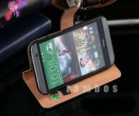 2pcs Luxury Flip Case Leather Magnetic Wallet Stand Cover & Card Holder Mobile Phone Genuine Real Leather Cases for HTC One M4
