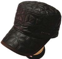 fashion korean winter autumn caps PU leather women men flat top Military Hats