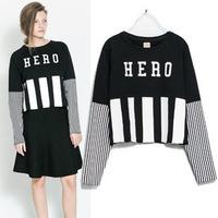 2014 New Brand Sport Suit Hoodies Plus Size Moleton Feminino Letter HERO Casual Loose Tracksuits Pullovers Sweatshirt Women