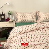 2014 Winter home textile Cream& GREEN bedding princess Floral printed 100% cotton bedding set 4 pcs comforter cover king queen