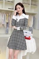 New 2014 Autumn Women Dress Fashion Shirt Collar plaid Pattern Was Thin Women Dress Free Shipping Promotion Black and white grid