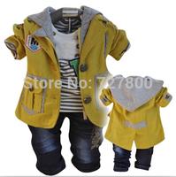 2014 new boys gentlemen blazer+shirt+pant with tie clothing sets 3pcs kids clothes sets baby boy coat set boy children clothing