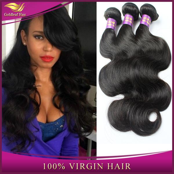 Grade 6A Unprocessed Brazilian Virgin Hair Extension Cheap Price Body Wave Remy Human Hair Bundle Goldleaf Hair(China (Mainland))