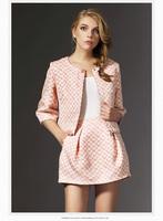 Free shipping 2014 autumn new women clothing set, skirt suit,women fashion three quarter sleeves dobby work blouse and skirt