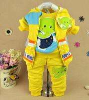2014 new boys cartoon elephant vest+shirt+pant clothing sets 3pcs kids clothes sets baby boy coat set boy children clothing