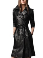 New Arrival 2015 Autumn Winter Europe and America Women Plus Size Slim Black long Design Double-breasted leather Trench Sashes