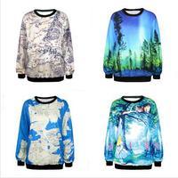 World Map Space Galaxy Cartoon Print jacket coat 2015 Autumn Women/Men 3D Hoodies Casual Sweatshirt Sportwear Suit Free shipping