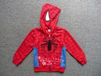 1pc Retail New 2014 Spring Autumn Children Outerwear Boys Coat Spiderman Hoodie Jackets Kids Mask Cartoon Clothes baby outerwear