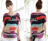 S-XXXL 2014 Colorful Print Chiffon Shirt Women's Irregular Multicolor Printed Chiffon T shirt Loose Short-sleeved T-shirt