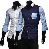 Free shipping 2014 hot sale new fashion men casual slim shirt, color block splicing men shirt,long-sleeve shirt men, wholesale