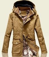 hot sale free shipping  winter men hooded slim warm  wadded jacket men cotton overcoats