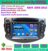 free shipping 1.6GHz DDR 8GB  pure android 4.2.2 2 din rav4 car dvd gps system tv bluetooth radio DVR OBD IPOD
