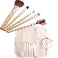 High Quality 5PCS Natural Bamboo Handle Makeup Brushes Set Cosmetics Tools Kit Powder Blush Brushes with Hemp linen bag