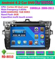 free shipping  pure android os 4.2 car dvd gps toyota corolla 2007-2011 gps navigation tv bluetooth radio DVR OBD IPOD